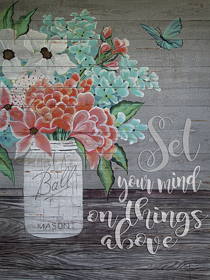 Cindy Jacobs CIN139 - Set Your Mind on Things Above - Ball Mason Jars, Flowers, Inspirational from Penny Lane Publishing