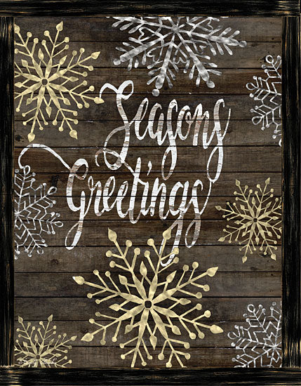 Cindy Jacobs CIN1426 - CIN1426 - Snowflake Seasons Greetings  - 12x16 Signs, Typography, Season's Greetings, Snowflakes, Wood Planks from Penny Lane