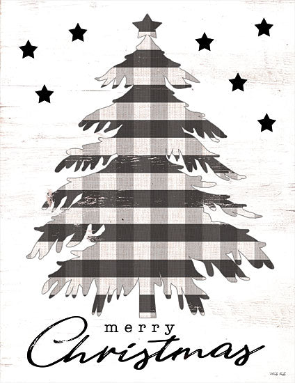 Cindy Jacobs CIN1760 - CIN1760 - Merry Christmas Tree and Stars - 12x16 Holidays, Christmas, Trees, Christmas Tree, Black & White Plaid, Signs from Penny Lane