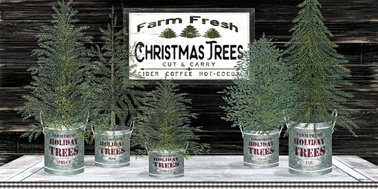 Cindy Jacobs CIN1766 - CIN1766 - Galvanized Pots Christmas Trees II - 18x9 Signs, Typography, Christmas Trees from Penny Lane