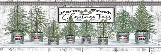 Cindy Jacobs CIN1769 - CIN1769 - Galvanized Pots White Christmas Trees I - 18x6 Signs, Typography, Christmas Trees from Penny Lane