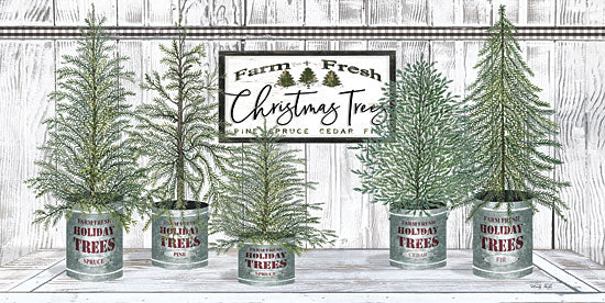 Cindy Jacobs CIN1770 - CIN1770 - Galvanized Pots White Christmas Trees II - 18x9 Signs, Typography, Christmas Trees from Penny Lane