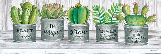 Cindy Jacobs CIN1813A - CIN1813A - Galvanized Pot Succulents I - 36x12 Cactus, Galvanized Tin Pots, Motivational, Still Life, Wood from Penny Lane