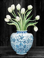 CIN1822 - Blue and White Tulips Black I - 12x16