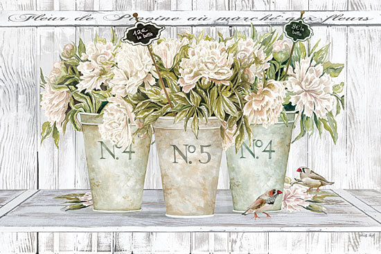 Cindy Jacobs CIN1850 - CIN1850 - French Peonies Still Life II    - 18x12 Flowers, Fleurs, French, Shabby Chic, Still Life, Shelf, Birds from Penny Lane