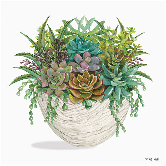 Cindy Jacobs CIN1866 - CIN1866 - White Wood Succulent II    - 12x12 Succulents, Wood Pot, Cactus, Southwestern from Penny Lane