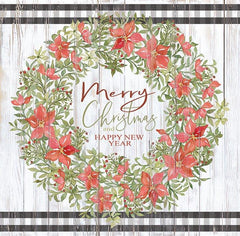 CIN1929 - Merry Christmas & Happy New Year Wreath - 12x12