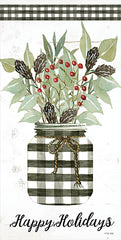 CIN2102 - Happy Holidays Gingham Jar     - 9x18