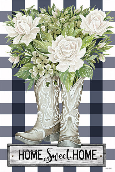 Cindy Jacobs CIN2159 - CIN2159 - Home Sweet Home Cowboy Boots - 12x18 Home Sweet Home, Cowboy Boots, Flowers, White Flowers, Greenery, Blue and White Plaid, Plaid, Rustic, Signs from Penny Lane