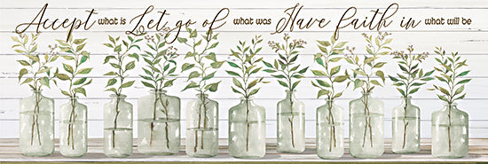 Cindy Jacobs CIN2163A - CIN2163A - Accept What Is - 36x12 Accept What Is, Have Faith, Vases,  Glass Jars, Flowers, Greenery, Still Life, Shabby Chic from Penny Lane