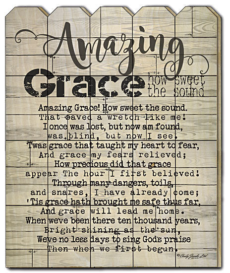 Cindy Jacobs CIN217PF - Amazing Grace - Amazing Grace, Distressed, Wood, Sign, Inspirational, Picket Fence, Religious from Penny Lane Publishing