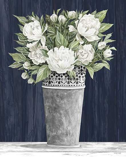 Cindy Jacobs CIN2275 - CIN2275 - Punched Tin White Floral    - 12x16 Flowers, White Flowers, Galvanized Tin Pail, Shabby Chic from Penny Lane