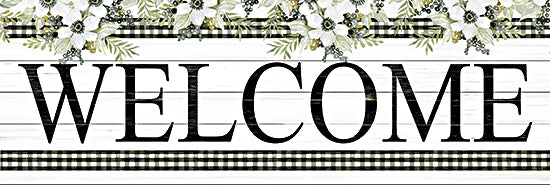 Cindy Jacobs CIN2287A - CIN2287A - Welcome - 36x12 Welcome, Flowers, White Flowers, Black & White Gingham, Calligraphy, Signs from Penny Lane