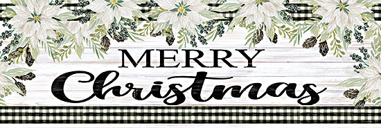 Cindy Jacobs CIN2290A - CIN2290A - Merry Christmas - 36x12 Merry Christmas, Holidays, Flowers, Poinsettias, Black & White Gingham, Signs from Penny Lane