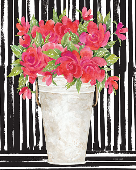 Cindy Jacobs CIN2299 - CIN2299 - Fuchsias II - 12x16 Flowers, Pink Flowers, Black & White Stripes, White Pot from Penny Lane