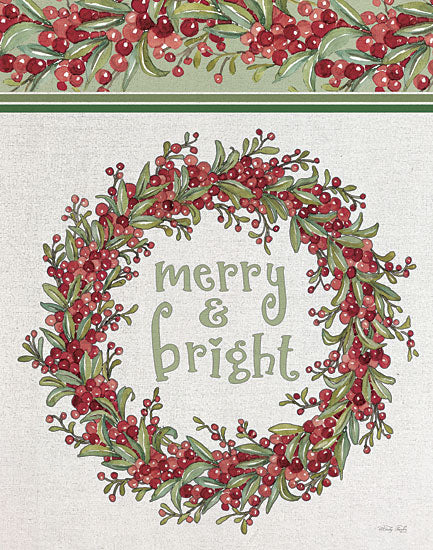 Cindy Jacobs CIN2356 - CIN2356 - Merry & Bright Wreath - 12x16 Merry & Bright, Wreath, Berries, Greenery, Holidays, Christmas, Signs from Penny Lane