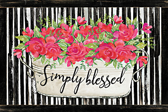 Cindy Jacobs CIN2402 - CIN2402 - Simply Blessed - 18x12 Simply Blessed, Flowers, Red Flowers, Galvanized Pail from Penny Lane