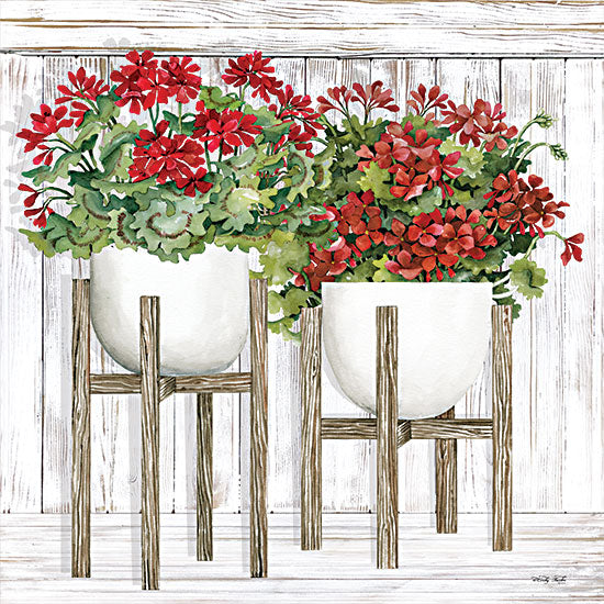 Cindy Jacobs CIN2405 - CIN2405 - Red Geraniums - 12x12 Flowers, Red Flowers, Geraniums, Plants, Plant Stands, Botanical from Penny Lane
