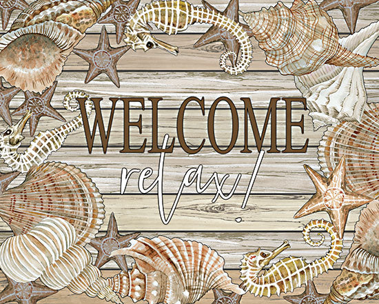Cindy Jacobs CIN2407 - CIN2407 - Beach Welcome and Relax - 18x12 Welcome, Relax, Coastal, Shells, Starfish, Seahorses, Signs from Penny Lane