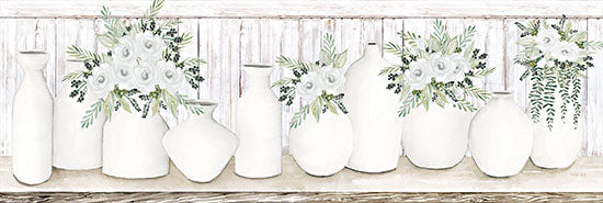 Cindy Jacobs CIN2408A - CIN2408A - White Simplicity - 36x12 Still Life, White Pots, Flowers, White Flowers, Wood Background from Penny Lane