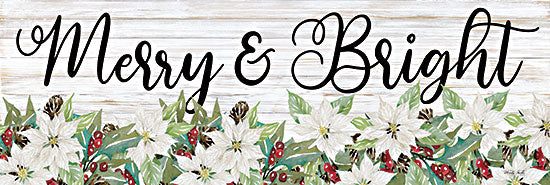 Cindy Jacobs CIN2566A - CIN2566A - Merry & Bright - 36x12 Merry & Bright, Holidays, Christmas, Flowers, Poinsettias, Shiplap, Signs from Penny Lane