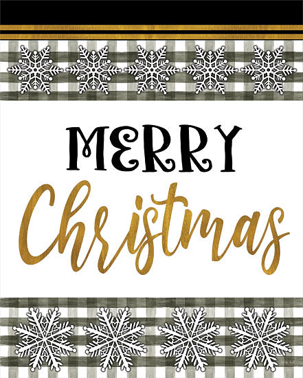 Cindy Jacobs CIN2599 - CIN2599 - Merry Christmas - 12x16 Merry Christmas, Black, Gold, Snowflakes, Black & White Gingham, Signs from Penny Lane