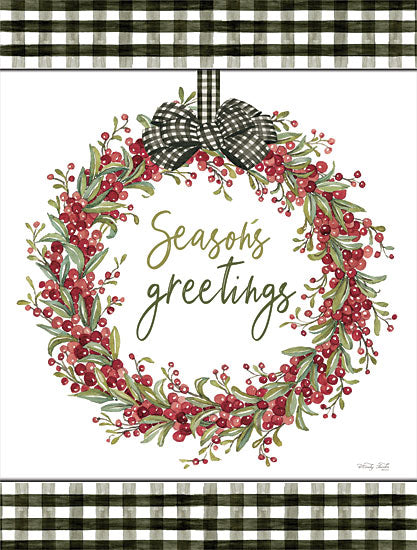 Cindy Jacobs CIN2615 - CIN2615 - Season's Greetings Wreath - 12x16 Seasons' Greetings, Wreath, Berries, Black & White Gingham, Signs, Christmas, Holidays from Penny Lane