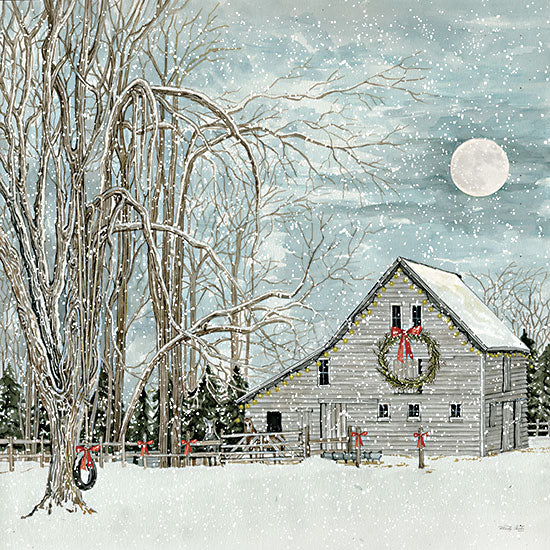 Cindy Jacobs CIN2669 - CIN2669 - Christmas Eve Moon - 12x18 Christmas, Holidays, House, Moon, Christmas Eve, Wreath, Trees, Winter from Penny Lane