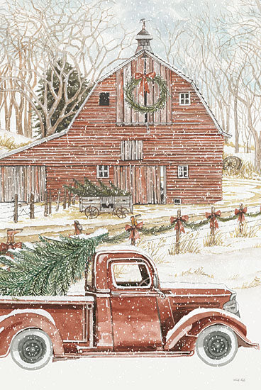 Cindy Jacobs CIN2675 - CIN2675 - Christmas Trees for the Holidays - 12x18 Truck, Farm, Barn, Winter, Christmas Tree, Holidays, Country from Penny Lane