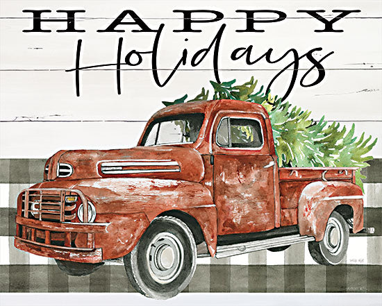 Cindy Jacobs CIN2679 - CIN2679 - Happy Holidays Truck - 16x12 Happy Holidays, Truck, Christmas Tree, Wood Sign from Penny Lane