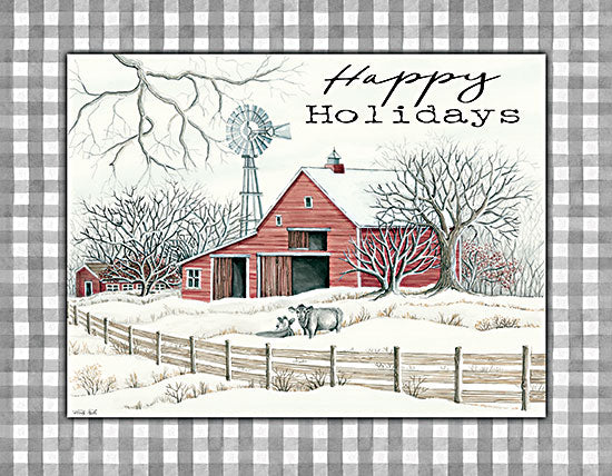 Cindy Jacobs CIN2714 - CIN2714 - Happy Holidays Farm - 16x12 Farm, Barn, Cows, Plaid, Winter, Holidays, Country, Signs from Penny Lane