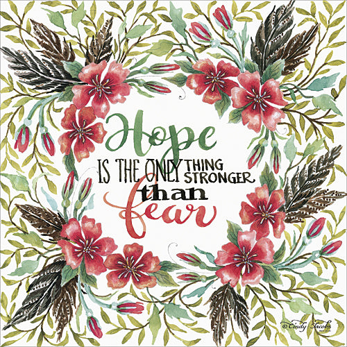Cindy Jacobs CIN316 - Hope is Stronger than Fear - Wreath, Leaves, Inspirational,  Sign, Floral from Penny Lane Publishing