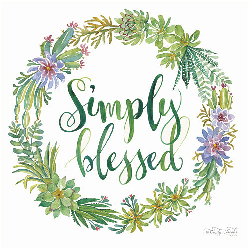 Cindy Jacobs CIN422 - Simply Blessed Succulent Wreath - Inspirational, Succulent, Wreath from Penny Lane Publishing