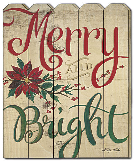 Cindy Jacobs CIN624PF - Merry & Bright - Merry, Bright, Holiday, Sign, Seasonal, Christmas, Typography, Wood Art, Picket Fence from Penny Lane Publishing