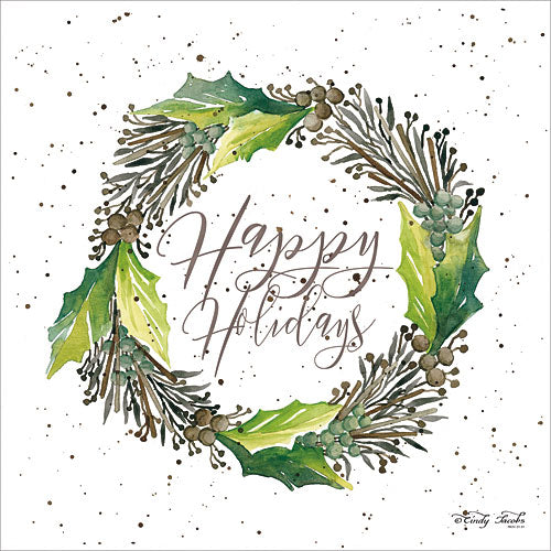 Cindy Jacobs CIN687 - Happy Holidays Wreath - Holiday, Wreath, Pinecones, Holly Leaves from Penny Lane Publishing