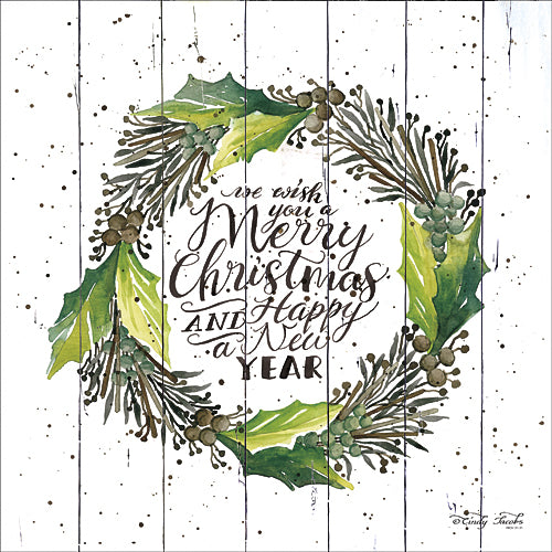 Cindy Jacobs CIN696 - Merry Christmas & Happy New Year Wreath  - Wreath, Holiday, Signs, Holly, Pinecones from Penny Lane Publishing