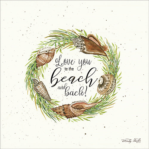 Cindy Jacobs CIN721 - Love You to the Beach Shell Wreath - Shells, Wreath, Coastal, Signs, Greenery from Penny Lane Publishing
