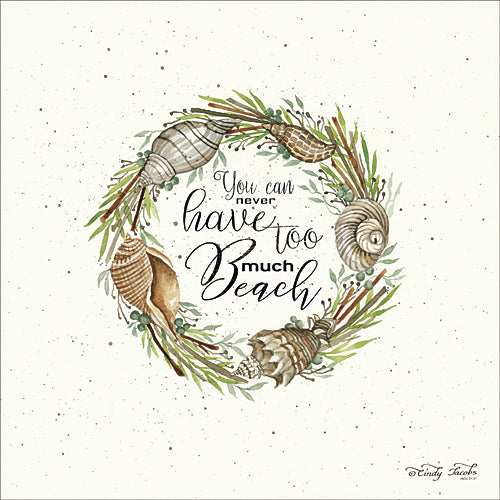 Cindy Jacobs CIN722 - Never Too Much Beach Shell Wreath - Shells, Wreath, Coastal, Signs, Greenery from Penny Lane Publishing