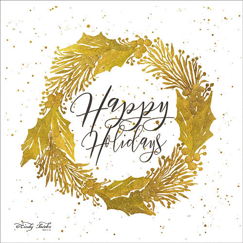 Cindy Jacobs CIN759 - Happy Holidays Gold Wreath - Holiday, Gold, Signs, Wreath from Penny Lane Publishing