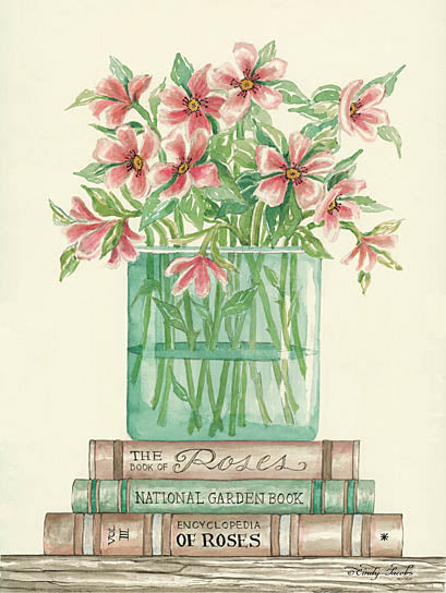Cindy Jacobs CIN779 - Book Bouquet I - Pink Flowers, Vase, Books, Shelf from Penny Lane Publishing