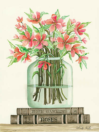 Cindy Jacobs CIN780 - Book Bouquet II - Pink Flowers, Vase, Books, Shelf from Penny Lane Publishing