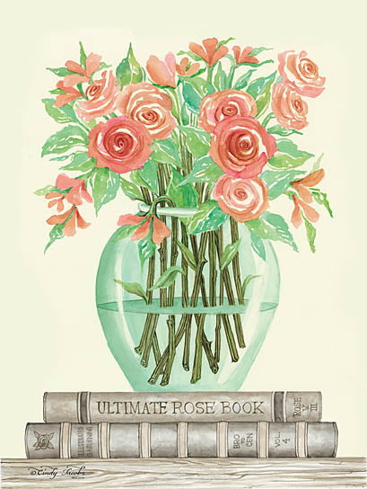Cindy Jacobs CIN782 - Book Bouquet IV - Pink Flowers, Vase, Books, Shelf from Penny Lane Publishing