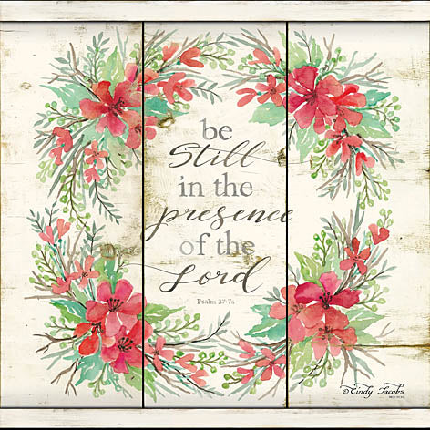 Cindy Jacobs CIN784 - Be Still Floral Wreath - Pink Flowers, Wreath, Religious, Inspirational from Penny Lane Publishing