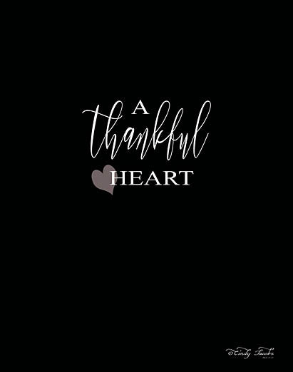 Cindy Jacobs CIN796 - A Thankful Heart - Black & White, Inspirational, Heart, Typography from Penny Lane Publishing