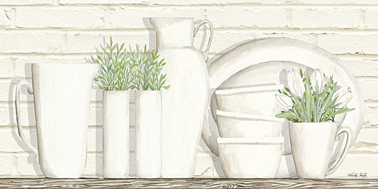 Cindy Jacobs CIN798 - White Ware Shelf I  - White Ware, Shelf, Dishes, Greenery, Still Life from Penny Lane Publishing