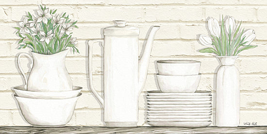 Cindy Jacobs CIN799 - White Ware Shelf II - White Ware, Shelf, Dishes, Greenery, Still Life from Penny Lane Publishing