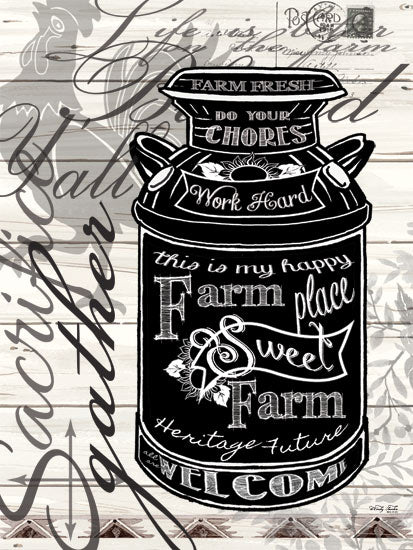 Cindy Jacobs CIN814 - Farm Sweet Farm Milk Can - Typography, Words, Signs, Milk Can from Penny Lane Publishing