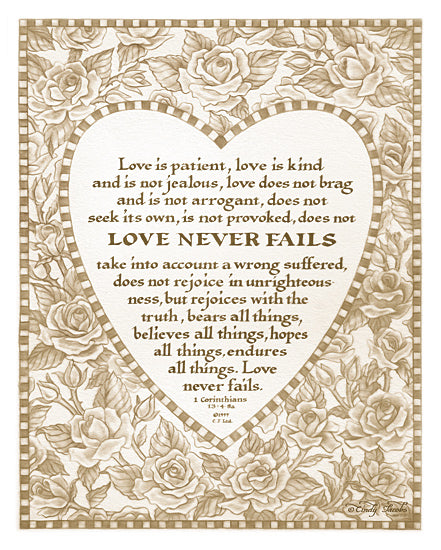 Cindy Jacobs CIN816 - Heart and Roses Love is Patient    - Heart, Typography, Vintage, Love, Inspirational from Penny Lane Publishing