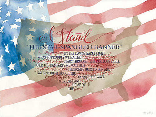 Cindy Jacobs CIN844 - I Stand - I Stand, Star Spangled Banner, Calligraphy, USA from Penny Lane Publishing