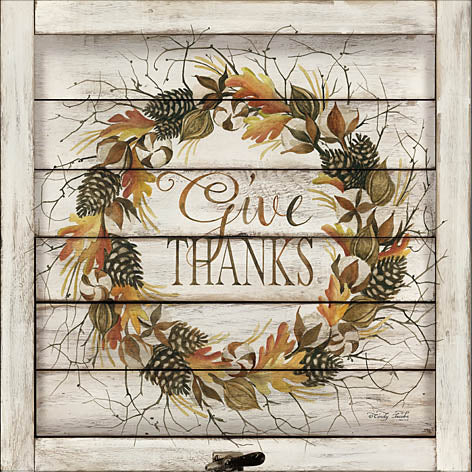 Cindy Jacobs CIN880 - Thanks Fall Wreath - Give Thanks, Autumn, Wreath, Pinecones, Leaves, Wood Plank from Penny Lane Publishing